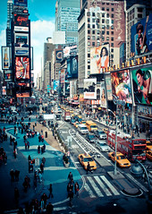 times square action - new york city (pamela ross) Tags: street nyc sky people usa cloud newyork bus america pen unitedstates theatre cab olympus scene disney timesquare timessquare oprah ep1 17mm mft urbancity minskoff