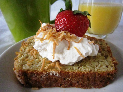 Slice of bread with cream and strawberry, take one