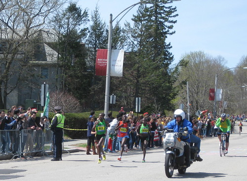 Boston Marathon 2011 near Boston College- Caroline Kilel (far left) is on her way to win it