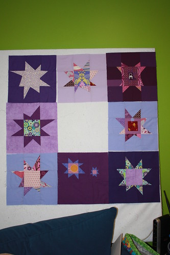 Purple Wonky Star Quilt 1