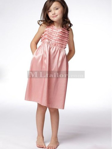 Taffeta Knee Length Flower Girl Dress (MLSW26027)
