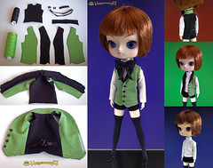 How I made Alois Trancy vest for Dal doll (Hegemony77 doll clothes) Tags: white black green set shirt outfit doll handmade tie dal howto shorts vest etsy alois custom commission dollclothes tinybuttons thighstockings trancy kuroshitsuji hegemony77 thinvelcro