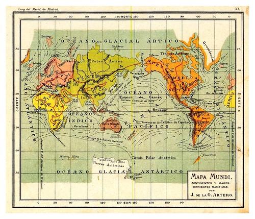 003-Continentes-Mares y corrientes maritimas-Atlas De Geografía- Astronómica, Física, Política Y Descriptiva 1908- Juan G. Artero