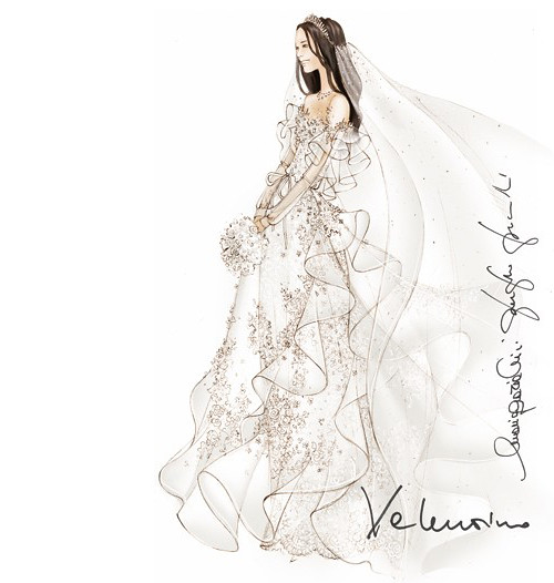 Wedding Dress Sketches - by Valentino for Kate Middleton
