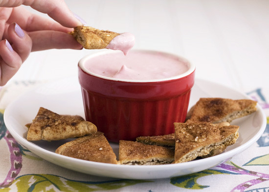 Strawberry Cheesecake Dip with Cinnamon Sugar Pita Chips