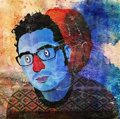 self-portrait (alvaro tapia hidalgo) Tags: chile uk blue people selfportrait texture lines illustration myself manchester valparaiso sweater spain graphic shapes granada watercolour autorretrato blackhair fallowfield prescriptionglasses