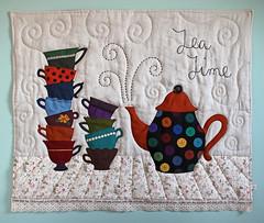 MQG - Kona Solids Challenge (PatchworkPottery) Tags: quilt tea handmade solids teapot patchwork teacup applique challenge kona robertkaufman modernquiltguild