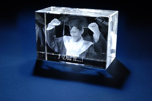 3D Laser Gifts - Train Graduation Photo Crystal