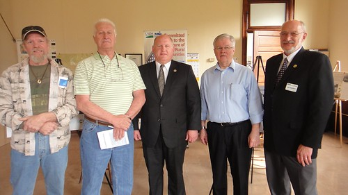 Congressman Glenn Thompson center, with Benezette Township Supervisors and Rural Development Area Director Bob Schoenfeldt on right marked Earth Day 2011  with a celebration of Rural Development funding for a new sewage treatment plant.