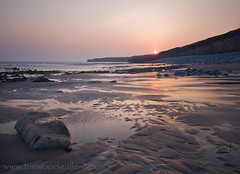 LLANTWIT MAJOR BEACH, WALES.    EXPLORE #306 (IMAGES OF WALES.... (TIMWOOD)) Tags: sunset sea sun beach pool rock wales reflections sand rocks waves sony tide cliffs alpha a700 timwoodgallery