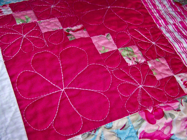 closeup of free motion quilting