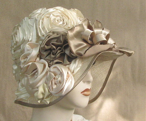 spring summer hand blocked sinamay bridal hat in ivory