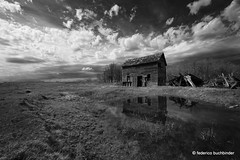 Farmhouse and Puddle (/ shadows and light) Tags: old trees sky bw house reflection abandoned water monochrome grass clouds farmhouse rural puddle mirror decay manitoba abandonment decayed agricultural arden ruralexploration rurex