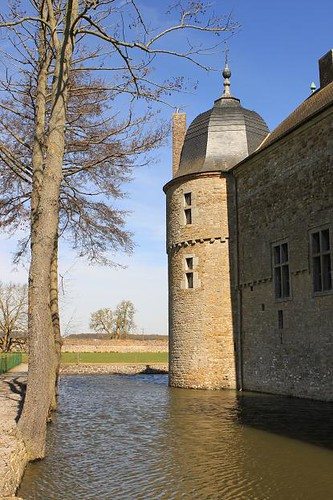 view of castle tower and moat