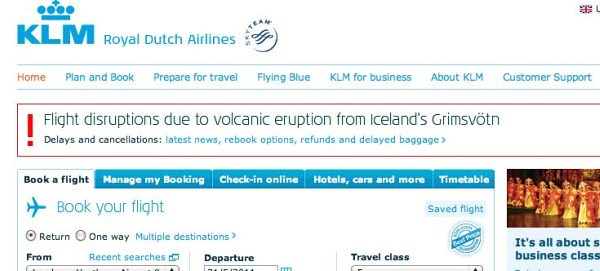 KLM homepage ash cloud