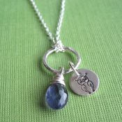 Owl and Iolite Necklace
