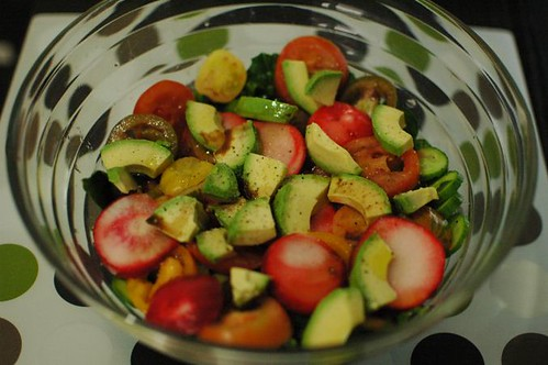 Spinach, radishes, heirloom tomatoes, cucumber & avocado salad