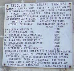 Konya, Mosquée d'Alaeddin, liste des sultans seldjoukides