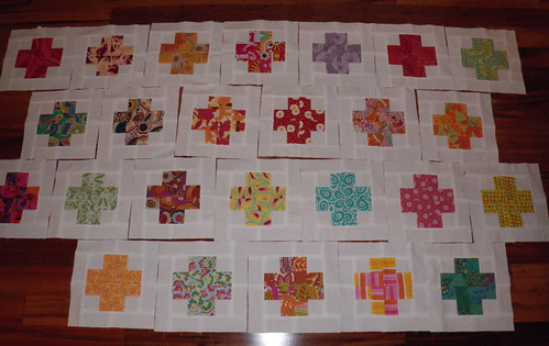 Modern Crosses - the quilt is growing