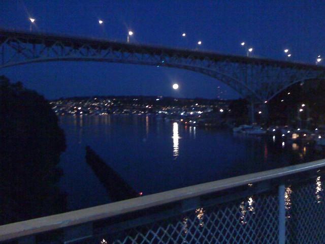 full moon over Lake Union