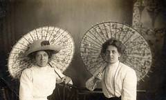 Two Edwardian ladies with paper parasols (lovedaylemon) Tags: old vintage found women image great barns yarmouth edwardian parasols