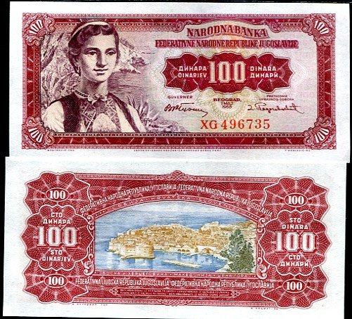 100 Dinárov Juhoslávia 1955, Pick 69