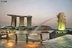 Merlion + MBS (kengoh8888) Tags: park sunset marina bay sand singapore merlion mbs blinkagain bestofblinkwinners