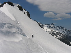Rounding the steep traverse