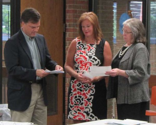 Orr and Collins present checks to Decatur Public Lib.-Sandy McCandless