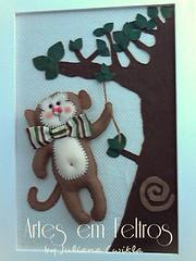 Quadro Macaco (artesemfeltrosbyjulianacwikla) Tags: baby safari enfeites feltro decorao festas maternidade lembrancinhas guirlandas