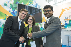 Philippe Crist, Susan Zielinski, Santhosh Kodukula launching the SMART MobiPrize