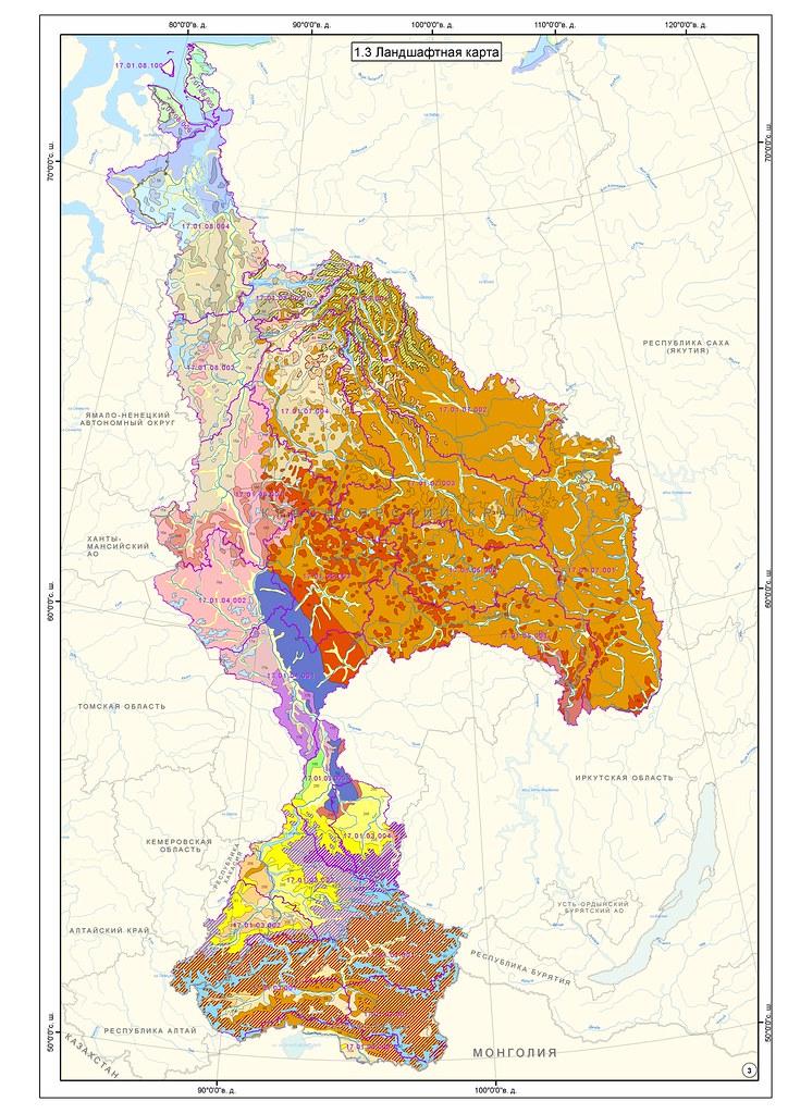 карта бассейна Енисея