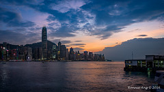 Panorama of Victoria Harbour in Hong Kong (ronang) Tags: red hong kong hongkong victoriaharbour victoriaharbor sunset bluehour warm evening eveningsun cityscape