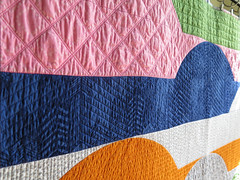 Office Day Dreams Quilt - details (Quiltachusetts - Heather Black) Tags: modern contemporary quilt hoffman me you pink blue navy green grey white fibs fables anna marie horner walking foot curve quilting piecing original deisgn file folders semi circle batik
