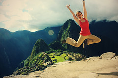 At Machu Picchu (-Fearless-) Tags: pictures travel vacation portrait selfportrait peru girl machu picchu inca cuzco self fun back jump ruins cusco return insanity traveling machupicchu leap fearless incan