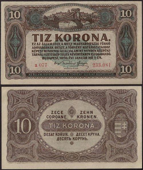10 Korona Maďarsko 1920, P60