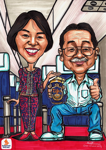 SIA girl and passenger couple caricatures