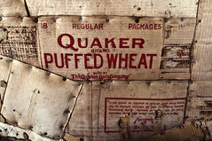 Quaker Brand Puffed Wheat Wallpaper (Curtis Gregory Perry) Tags: wallpaper gnome nikon box wheat idaho cardboard brand quaker puffed d300 townsite