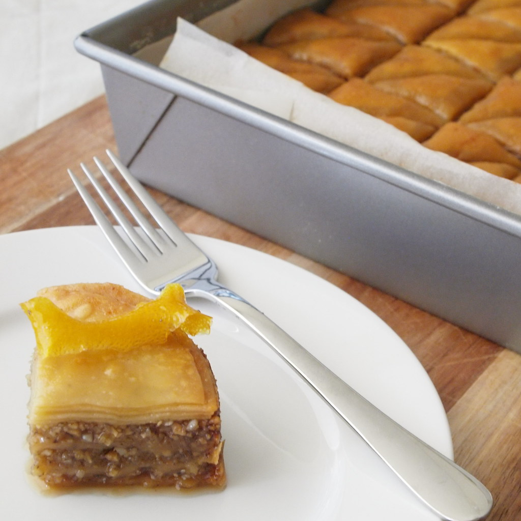 Macadamia and lemon myrtle baklava
