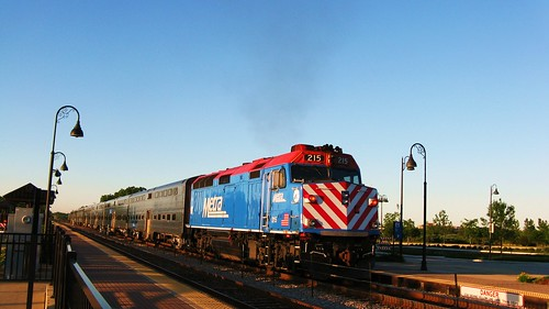 Southbound Metra local commuter train departing for Chicago.  Glenview Illinois USA. June 2011. by Eddie from Chicago