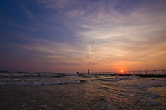 sunset (randyr photography) Tags: sunset lake haven beach water zeiss pier surf waves michigan sony grand alpha a850 sal1635z