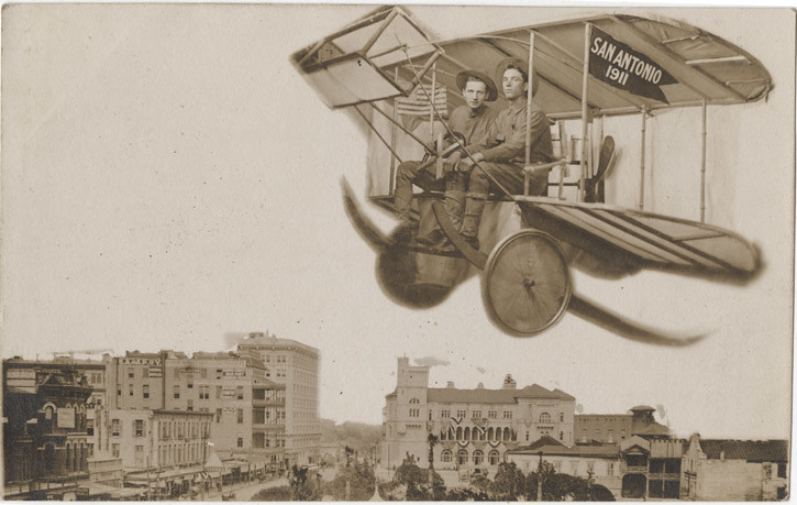 Biplane over San Antonio, Texas - Souvenir Real Photo Postcard, 1911