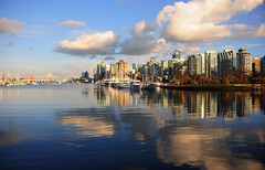 Double. (Pedro Lacerda) Tags: city sea sun canada fall water vancouver clouds buildings harbor spring skyscrapers britishcolumbia stanleypark coal highrises coalharbor supertalls