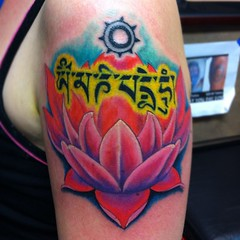 I did the lotus & re-lined the lettering #tattoo #lotusflower