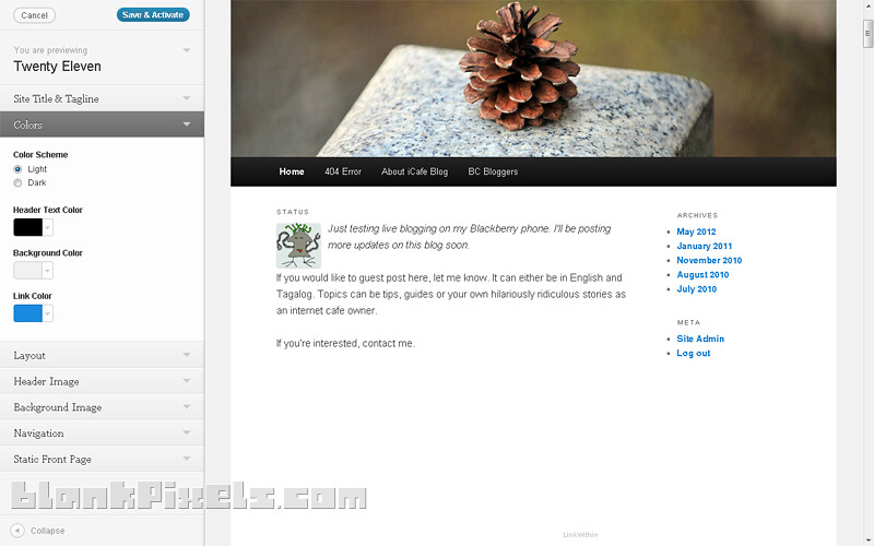 Live Theme Preview on WordPress 3.4