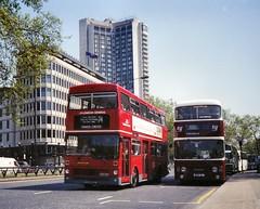 1992-05- GYE527W and BFS1L in Park Lane (VV773) Tags: bus london edinburgh diesel transport double corporation deck basil alexander region lrt lothian leyland metrobus decker mcw atlantean m527 bfs1l gye527w