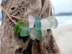 IMG_7578 (LindseysBeachGlass) Tags: blue sea white green beach glass colors leather silver hawaii wire aqua handmade teal jewelry clear bracelet hawaiian earrings seaglass rarecolor olibe