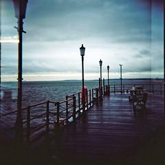 Southend pier (nick richards art) Tags: sea england colour 120 thames clouds pier seaside lomo lomography location estuary 120film essex southend