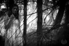 If I lay on the earth, could you hear then #2 (Eera Photography) Tags: blackandwhite monochrome forest dark sadness 50mm woods dof gloomy eerie conceptual twigs grief