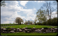 Little Yellow Farmhouse (maxinneball) Tags: sky green grass yellow clouds farmhouse garden